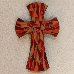 Kereszt - piros - üvegmozaik falidísz, Otthon & Lakás, Dekoráció, Falra akasztható dekor, Mozaik, Mindenmás, Meska