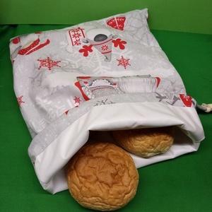 Karácsonyi manós  kenyér/pékáru  textil zsák, Táska & Tok, Bevásárlás & Shopper táska, Shopper, textiltáska, szatyor, Varrás, Textil kenyér/pékáru tartó zsák, frissen tartó! \n\nMérete: 30x38 cm. \n\nKívül pamut vászon, belül légá..., Meska