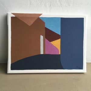 Festmény - utca 2020 / acrylic on canvas 24x18 cm, Művészet, Festmény, Akril, Festészet, Akrilfestmény, keretre feszített vászon, 24x18 cm - a fehér keret is az alkotás része. \nCím: utca 20..., Meska