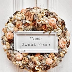 Sweet Home , Otthon & lakás, Dekoráció, Lakberendezés, Ajtódísz, kopogtató, Virágkötés, Többféle száraz termés felhasználásával készült kopogtató. A kopogtató átmérője: 22 cm. ..., Meska