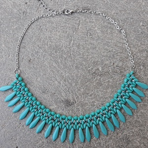 Türkiz-ezüst dárdás nyaklánc, Gyöngyös nyaklác, Nyaklánc, Ékszer, Gyöngyfűzés, gyöngyhímzés, Cseh gyöngyökből készült türkizkék-ezüst nyaklánc. Cseh csiszolt gyöngyöt, superduot, o-gyöngyöt, il..., Meska