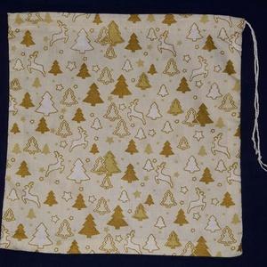 Karácsonyi mintás vászon ajándéktasak, Karácsonyi csomagolás, Karácsony & Mikulás, Otthon & Lakás, Üvegművészet, Karácsonyi mintás vászon ajándéktasak, behúzózsinórral, papírcsomagoló helyett.\n\nMéretük: kb. 21x26c..., Meska