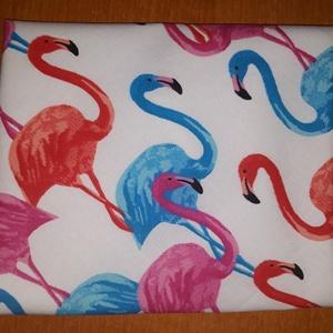 Flamingós szendvics csomagoló, NoWaste, Textilek, Textil tároló, Varrás, Flamingómintás, tépőzáras szendvicscsomagoló szalvéta helyett. Belseje PUL-ból keszült, letörölhető...., Meska