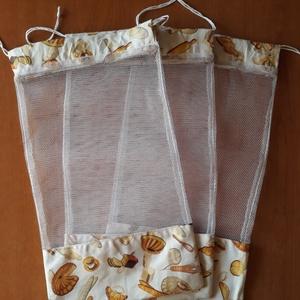 Ökozsacskók - pékáru mintás - 3 darab, NoWaste, Bevásárló zsákok, zacskók , Textilek, Varrás, 3 darab pékáru mintás vászonból és tüllből készült ökozsák.\n\n19X34 cm-esek., Meska