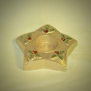 Mécsestartó gipsz arany, Karácsony, Karácsonyi dekoráció, Újrahasznosított alapanyagból készült termékek, Egyedi termék, mely hallássérültek keze munkáját dicséri. Az ünnepi dekoráció része lehet.\nMéret: 10..., Meska