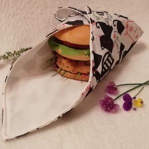 Cicás szendvicscsomagoló szalvéta, Otthon & lakás, Konyhafelszerelés, NoWaste, Varrás, Környezetbarát mosható vízhatlan szalvéta uzsonna csomagolásához.\nKülső oldala mintás pamutvászon, b..., Meska