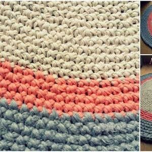 Tricolor Csajos szőnyeg, Lakberendezés, Otthon & lakás, Lakástextil, Szőnyeg, Horgolás, Portugál fonalból készült tricolor szőnyeg!\nMinőségi, finom, puha anyag.\nVastagsága: 1,5-2 cm\nÁtmérő..., Meska