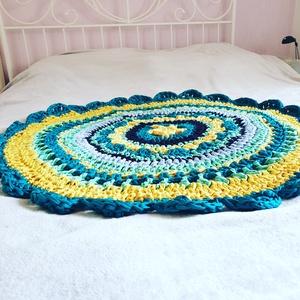 Emerald Mandala, Otthon & lakás, Lakberendezés, Lakástextil, Szőnyeg, Horgolás, A mandala szőnyegek a szívem csücskei! \nA különböző színek összhatása fantasztikus, és egyben nyugta..., Meska