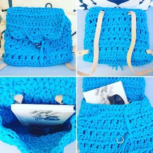 Laguna táska, Táska, Divat & Szépség, Táska, Hátizsák, Horgolás, Pólófonalból horgolt kék hátizsák, melynek viselete nagyon kényelmes. Belefér könyv, zsepi, szemüveg..., Meska