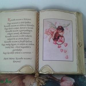 Antik díszkönyv, Dekoráció, Otthon & lakás, Naptár, képeslap, album, Képzőművészet, Könyvkötés, Kézműves könyvkötéssel készített díszkönyv. Aranyozott lapokkal, arany díszítéssel, színes zsinórral..., Meska