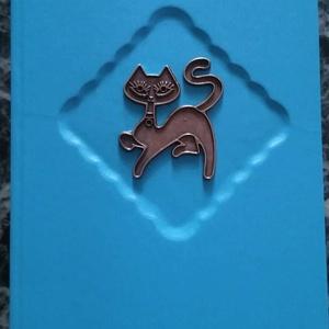 Cicás könyv, Otthon & Lakás, Könyv, Papír írószer, Kézműves könyvkötéssel készített, bohém kis könyv cica barátoknak. Divatos könyvkötő műbőrrel boríto..., Meska