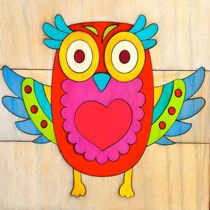 Fából készült egyedi Bagoly falikép 20 X 20 cm , Kép & Falikép, Dekoráció, Otthon & Lakás, Famegmunkálás, Festett tárgyak, Fából készült, egyedi bagoly mintás fali kép. \nMéret: 20 X 20 cm, vastagság kb 8 mm. \nFali akasztóva..., Meska
