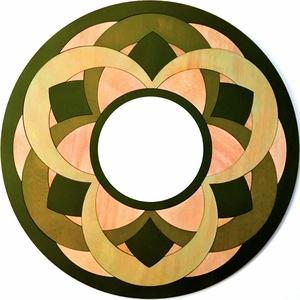 Mandal mintájú, fából készült fali tükör, Dekoráció, Otthon & lakás, Lakberendezés, Képkeret, tükör, Falikép, Festett tárgyak, Famegmunkálás, Egyedi - mandala mintás -fából készült fali tükör. \nMérete: 56 X 56 cm (átmérő: 56 cm), tükör mérete..., Meska