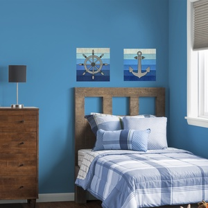 2 részes fali kép szett tengerész stílusban  , Dekoráció, Otthon & lakás, Kép, Gyerek & játék, Gyerekszoba, Famegmunkálás, Festett tárgyak, Fából készült, kézzel festett fali képek tengerész stílusban. \nA képek mérete: 20x20 cm, vastagság: ..., Meska
