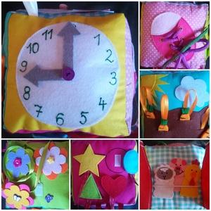 Készségfejlesztő kocka RENDELHETŐ, Játék & Gyerek, Készségfejlesztő & Logikai játék, Varrás, Készségfejlesztő kocka textilből vatelinnel töltve.\nOldalai 13x13 cm-esek:\n1. Óra: mutatója forgatha..., Meska