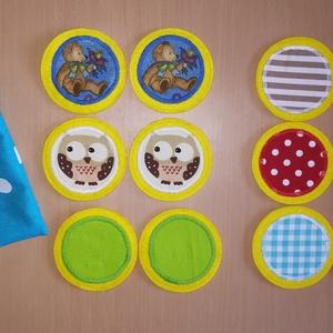 Memóriakorongok kicsiknek , Gyerek & játék, Játék, Készségfejlesztő játék, Társasjáték, Varrás, Puha, vidám, színes filckorongok pöttyös tasakban. Memóriajáték a legkisebbeknek.\nTartalma: 6 pár 7,..., Meska