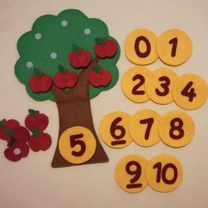 Számolóka - almafás, Készségfejlesztő & Logikai játék, Játék & Gyerek, Varrás, 25 cm magas almafa, 10 almával, 0-10-ig számokkal. Tépőzáras. Számlálni tanít a 10-es számkörben. ..., Meska
