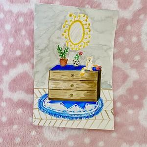 Living with cat, Otthon & lakás, Képzőművészet, Napi festmény, kép, Festészet, Akvarell papírra festettem minőségi vízfestékkel. \n\nEgy kis szösszenet jelenik meg a cicás életből. ..., Meska