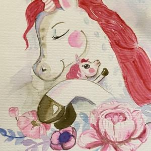 Anya és én, unikornis, love, anyáknapja, virágos, Otthon & lakás, Gyerek & játék, Gyerekszoba, Baba falikép, Képzőművészet, Napi festmény, kép, Festészet, Akvarell papírra festettem minőségi vízfestékkel ezt a kedves dekorációt.\n\nAnyáknapi ajándéknak aján..., Meska