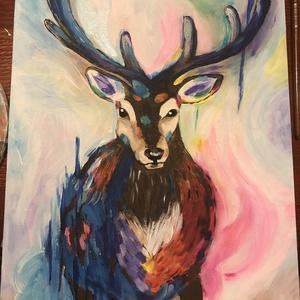 Színes szarvas akrill festmény, Férfiaknak, Horgászat, vadászat, Legénylakás, Otthon & lakás, Képzőművészet, Festmény, Akril, Festészet, Akrillal festettem feszített vászonra. \n30x40cm\n\nA szarvast férjem ihlette, szereti ezt a nemes álla..., Meska