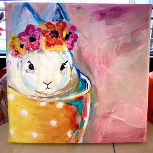 Húsvéti nyuszi festmény, Otthon & lakás, Képzőművészet, Festmény, Akril, Gyerek & játék, Gyerekszoba, Baba falikép, Lakberendezés, Falikép, Festészet, Akrillal festettem feszített vászonra. \n15x15 cm\n\nEgy csésze nyuszika tavaszi színekkel, virágokkal...., Meska