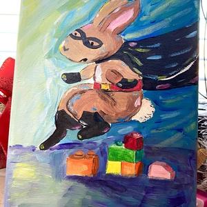 Rabbitman, Gyerek & játék, Gyerekszoba, Baba falikép, Otthon & lakás, Dekoráció, Kép, Képzőművészet, Festmény, Akril, Festészet, Feszített vászonra festettem akrillal. \n15x20 cm\n\nFiúkra és fiús anyukákra gondolva készítettem ezt ..., Meska