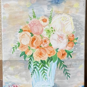 Bazsarózsa csokor csendélet, Otthon & lakás, Képzőművészet, Festmény, Akril, Lakberendezés, Falikép, Dekoráció, Kép, Festészet, Feszített vászonra akril festékkel került fel a virágos kép.\n\n24x30 cm\n\nKellemes színei beleillenek ..., Meska