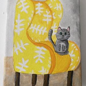 Trónoló cica vászon változat, Otthon & lakás, Képzőművészet, Dekoráció, Kép, Festmény, Akril, Napi festmény, kép, Festészet, Vászonra készült akril festés.\n15x20 cm\n\nSzürke cicó ücsörög a sárga holland bútoron. Ebből már kész..., Meska