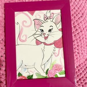 Marie cica fali kép pink kerettel, Gyerek & játék, Gyerekszoba, Baba falikép, Festészet, Lányok! Ki szereti a cicákat? \nAnyucik! Kinek a lánya szereti ezt a fehér cicát?\nCuki szobadekor.\n\n1..., Meska