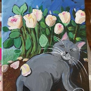 Rózsás álom, akril festmény, Otthon & lakás, Dekoráció, Kép, Képzőművészet, Festmény, Akril, Lakberendezés, Falikép, Festészet, Cirmóka alussza Csipkerózsika-álmát a kert rózsái tövében. Irigylem ezt a rózsás álmodozást. \n\n18x24..., Meska
