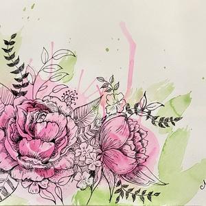 Rózsák illata c. fali kép, Otthon & lakás, Dekoráció, Kép, Képzőművészet, Festmény, Festmény vegyes technika, Lakberendezés, Falikép, Festészet, Vegyes technikával alkottam művészpapírra a virágaimat. A/4-es méretre. \nAkvarell festékkel kapott s..., Meska