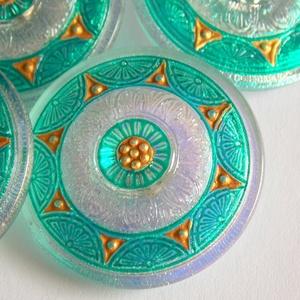 Menta  35mm , Gyöngy, ékszerkellék, Cabochon, Ékszerkészítés, Fantasztikusan szép menta színű gombok. \n\nEzeket a gombokat kézzel festik. \n\nFelhasználható gyöngy h..., Meska
