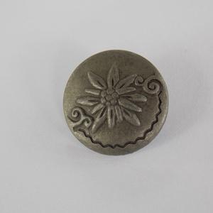 Antik szürke   fém gomb , Gomb, Gyöngy, ékszerkellék, 20 mm átmérőjű havasi gyopár mintás antik hatású fém gomb  Minden ékszer készítési munkához tökélete..., Meska