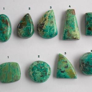 Chrysocolla 3, Gyöngy, ékszerkellék, Cabochon, Ékszerkészítés, Fantasztikusan szép, különleges mintázatú Chrysocolla féldrága kövek. \n\nMérete:\nA\n1.  23,7mm X 14,5m..., Meska