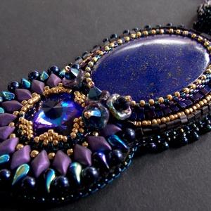 Midnight Sun- gyöngy hímzett nyaklánc, Ékszer, Nyaklánc, Medálos nyaklánc, Ékszerkészítés, Gyöngyfűzés, gyöngyhímzés, Meska