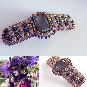 Carnival   - Gyöngy hímzett hajcsat , Ruha & Divat, Hajdísz & Hajcsat, Hajcsat & Hajtű, Ékszerkészítés, Gyöngyfűzés, gyöngyhímzés, Meska