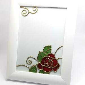 Képkeret, fotókeret a romantika kedvelőinek, Esküvő, Emlék & Ajándék, Üvegművészet, Vintage fotókeret gyönyörű kézzel készített rózsa mintával. Egyedi kézműves termék, amely tökéletes ..., Meska