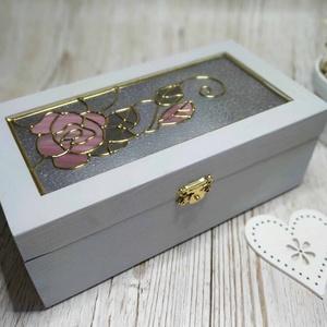 Ékszertartó doboz romantikus rózsa mintával, Ékszer, Ékszertartó, Ékszerdoboz, Üvegművészet, Vintage rózsa mintával  készítettem ezt az  ékszertartó dobozt. Egyedi kézműves termék, amely tökéle..., Meska