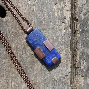 Lápisz lazuli rózsás medál+ajándék - ékszer - nyaklánc - medálos nyaklánc - Meska.hu