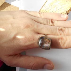 Ametiszt vörösréz gyűrű, Ékszer, Gyűrű, Ékszerkészítés, Fémmegmunkálás, Állíthatós nagy vörösréz gyűrűt készíttem, antikoltam, majd políroztam. Most 17-18 mm ujjra ajánlom,..., Meska