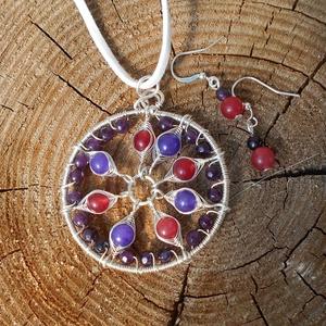 Mandala medál ametiszttel és cseresznyekvarccal+ajándék, Ékszer, Ékszerszett, Ékszerkészítés, Fémmegmunkálás, Meska