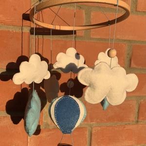 Hőlégballonos babaforgó felhőkkel  , Játék & Gyerek, Babalátogató ajándékcsomag, Varrás, Meska