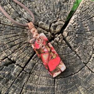 Császárkő réz medál+ajándék , Ékszer, Nyaklánc, Medál, Fémmegmunkálás, Ékszerkészítés, Vörösrézből és egy szép császárkőből készítettem ezt a medált. Akasztóval együtt 6,5 cm. Ajándékba k..., Meska