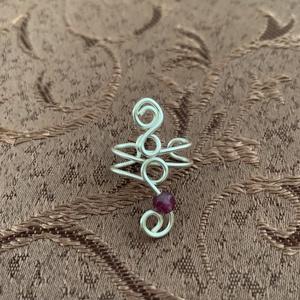 Ezüstözött fülgyűrű ametiszttel, Ékszer, Fülbevaló, Fülgyűrű, Fémmegmunkálás, Ékszerkészítés, Meska