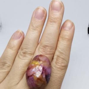 Kavics gyűrű (csillagos éjszaka) , Ékszer, Gyűrű, Mindenmás, Tökéletes formájú kavicsból készült ez a gyűrű. A kavics teljes felületét alkoholos tinta festékkel ..., Meska
