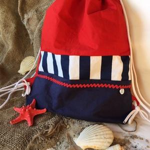 Zsinóros hátizsák pamutvászonból/gymbag, Táska, Divat & Szépség, Táska, Hátizsák, Válltáska, oldaltáska, Varrás, Pamutvászonból készített divatos zsinóros hátizsák! \nIgazi nyári színekben pompázik!\nA vállpánt hoss..., Meska
