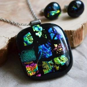 Galaxy - nyaklánc és fülbevaló üvegékszer szett, Ékszer, Ékszerszett, Ékszerkészítés, Üvegművészet, Nyakláncból és bedugós fülbevalóból áll a szett, mely különböző színű dichroic magic üvegekből készü..., Meska