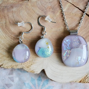 Fairytale nyaklánc és fülbevaló - üvegékszer szett, Ékszer, Ékszerszett, Ékszerkészítés, Üvegművészet, Meska