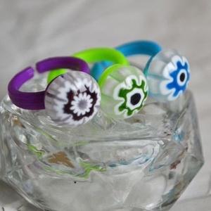 Millefiori üveg gyerek gyűrű szett, Szoliter gyűrű, Gyűrű, Ékszer, Ékszerkészítés, Üvegművészet, 3 db vidám gyerek gyűrű alkotja a csomagot, melyeket különböző színű Millefiori virágokból válogatta..., Meska
