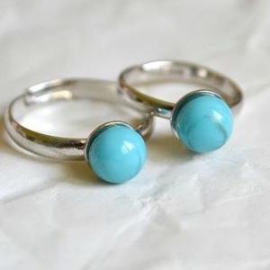 Türkizkék pötty anya-lánya gyűrű, Szoliter gyűrű, Gyűrű, Ékszer, Ékszerkészítés, Üvegművészet, A kisméretű, visszafogott ékszerek kedvelőinek készül elsősorban a Pötty kollekció.\n\nEzek az ékszere..., Meska